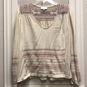 Lucky brand Euc top with embroidery xs